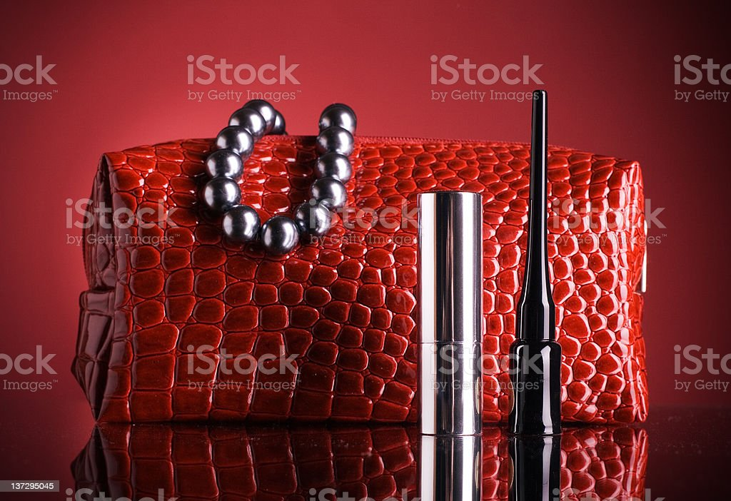 bag for makeup and lipstick royalty-free stock photo