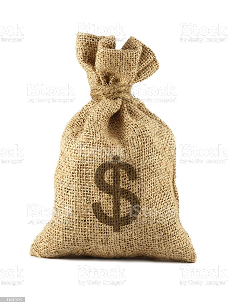 Bag from a sacking with dollars stock photo