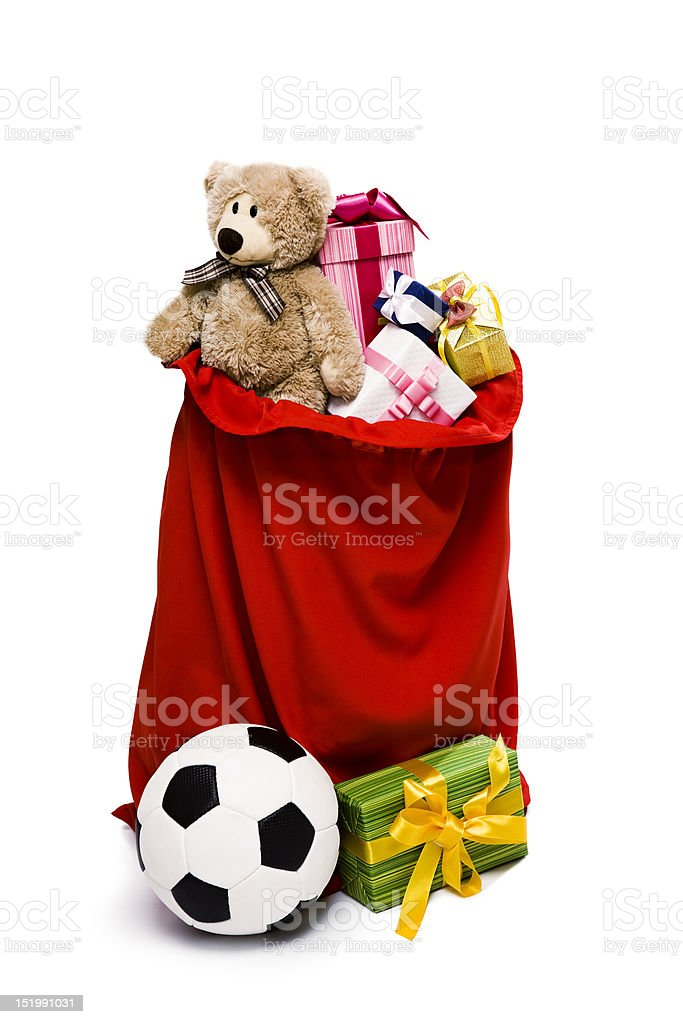 Bag Full of Christmas Presents stock photo