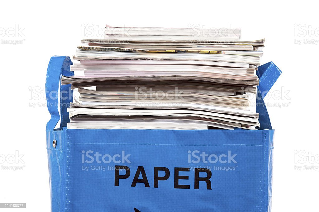 Bag full of paper stock photo