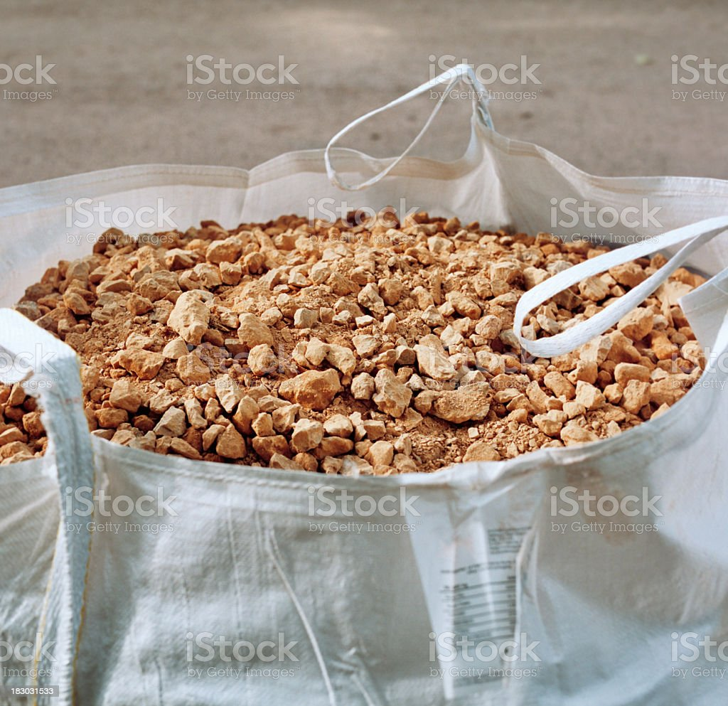 Bag full  of rubble, construction site stock photo
