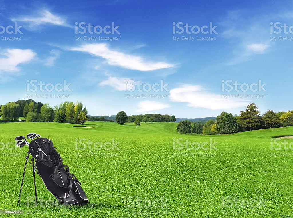 bag golf course stock photo