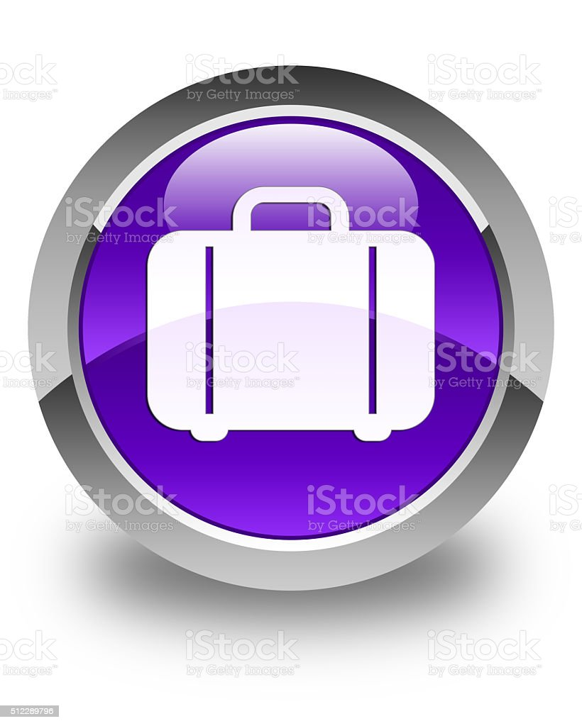 Bag icon glossy purple round button stock photo