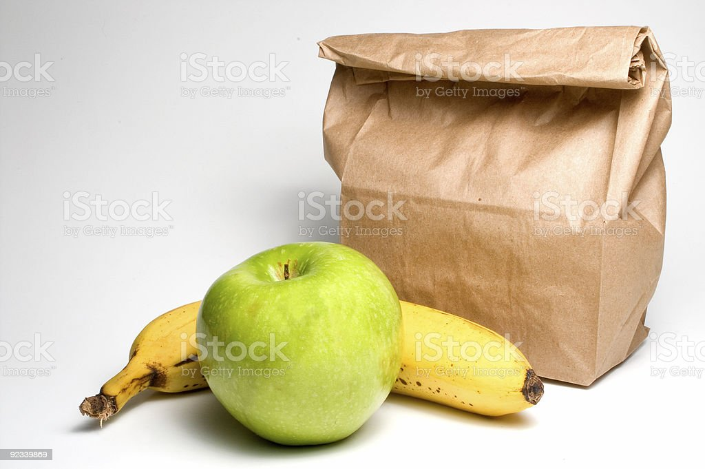 Bag Lunch with Fruit royalty-free stock photo