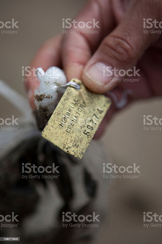 Bag of ashes from a crematorium stock photo