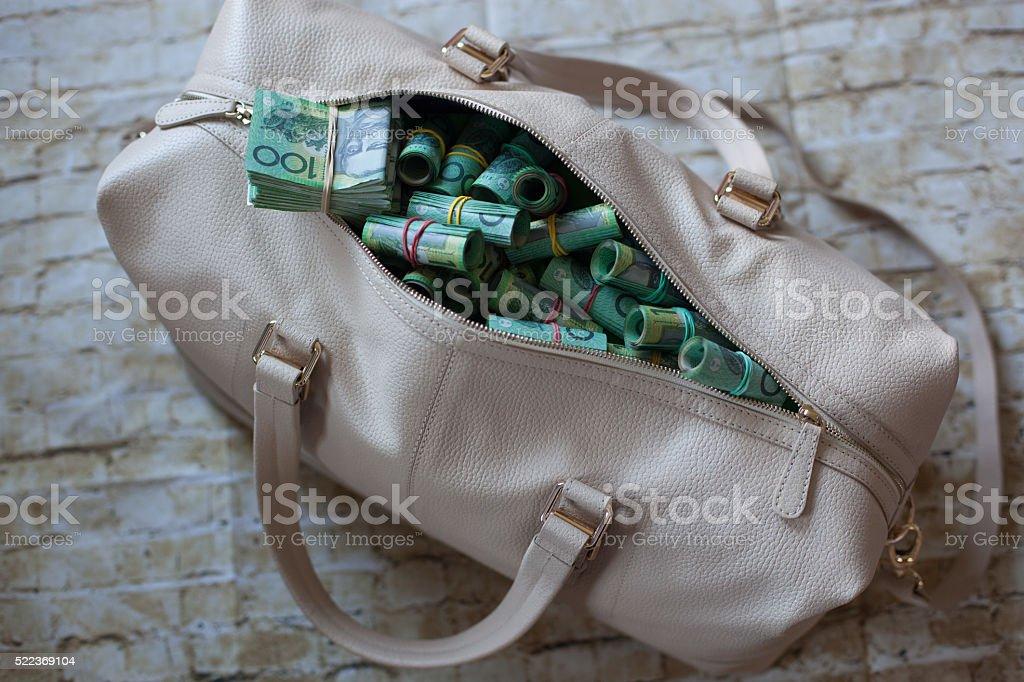 Bag of cash money stock photo