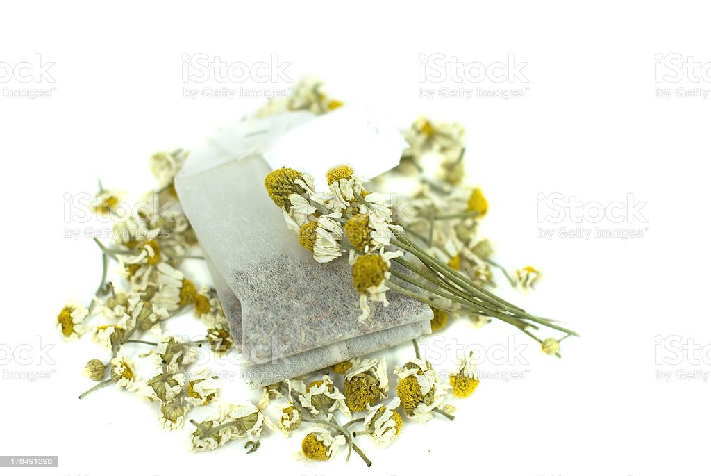 bag of chamomile tea on white background royalty-free stock photo