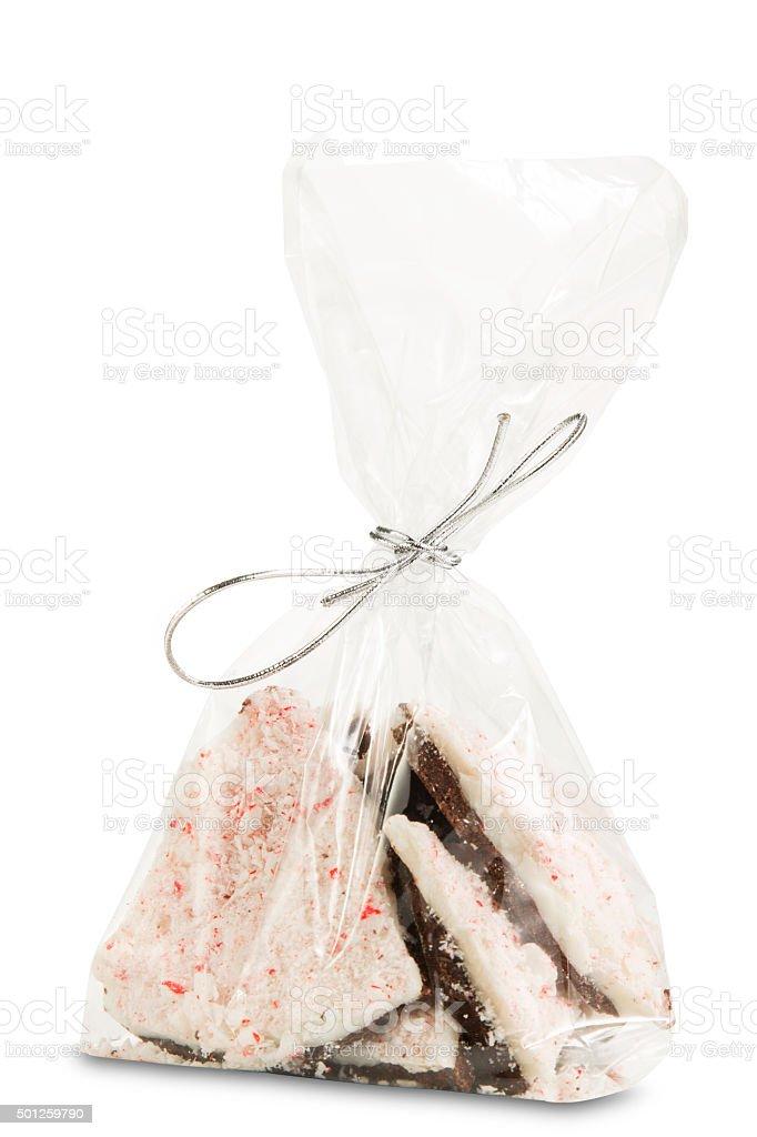 Bag of Chocolate Peppermint Bark stock photo