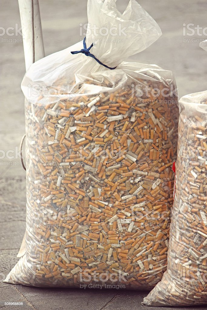 Bag of Cigarette Butts stock photo