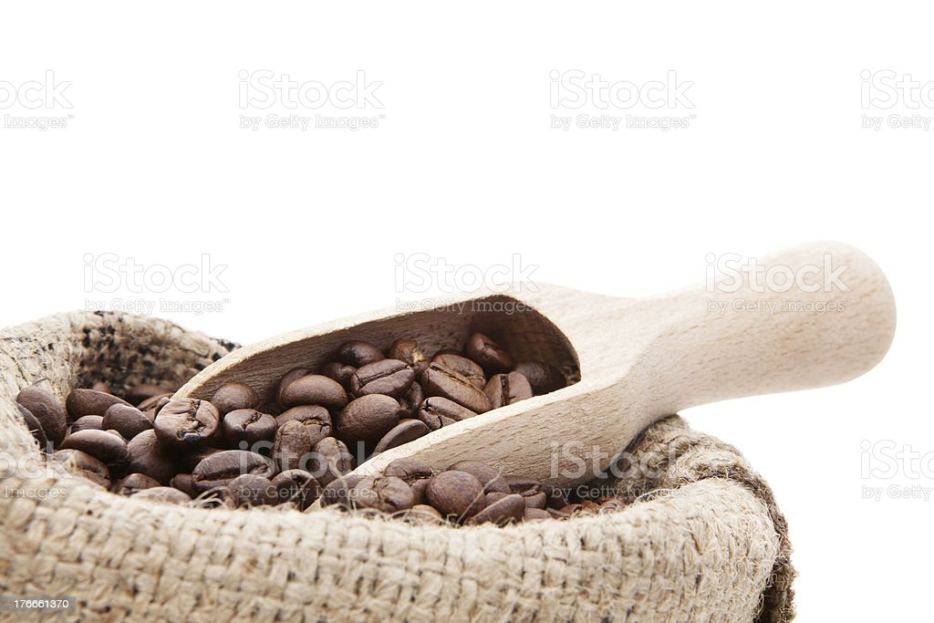 Bag of coffee beans close up. royalty-free stock photo