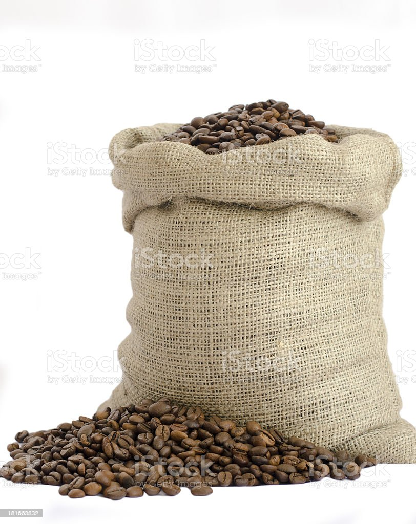 bag of coffee beans isolated on white background stock photo