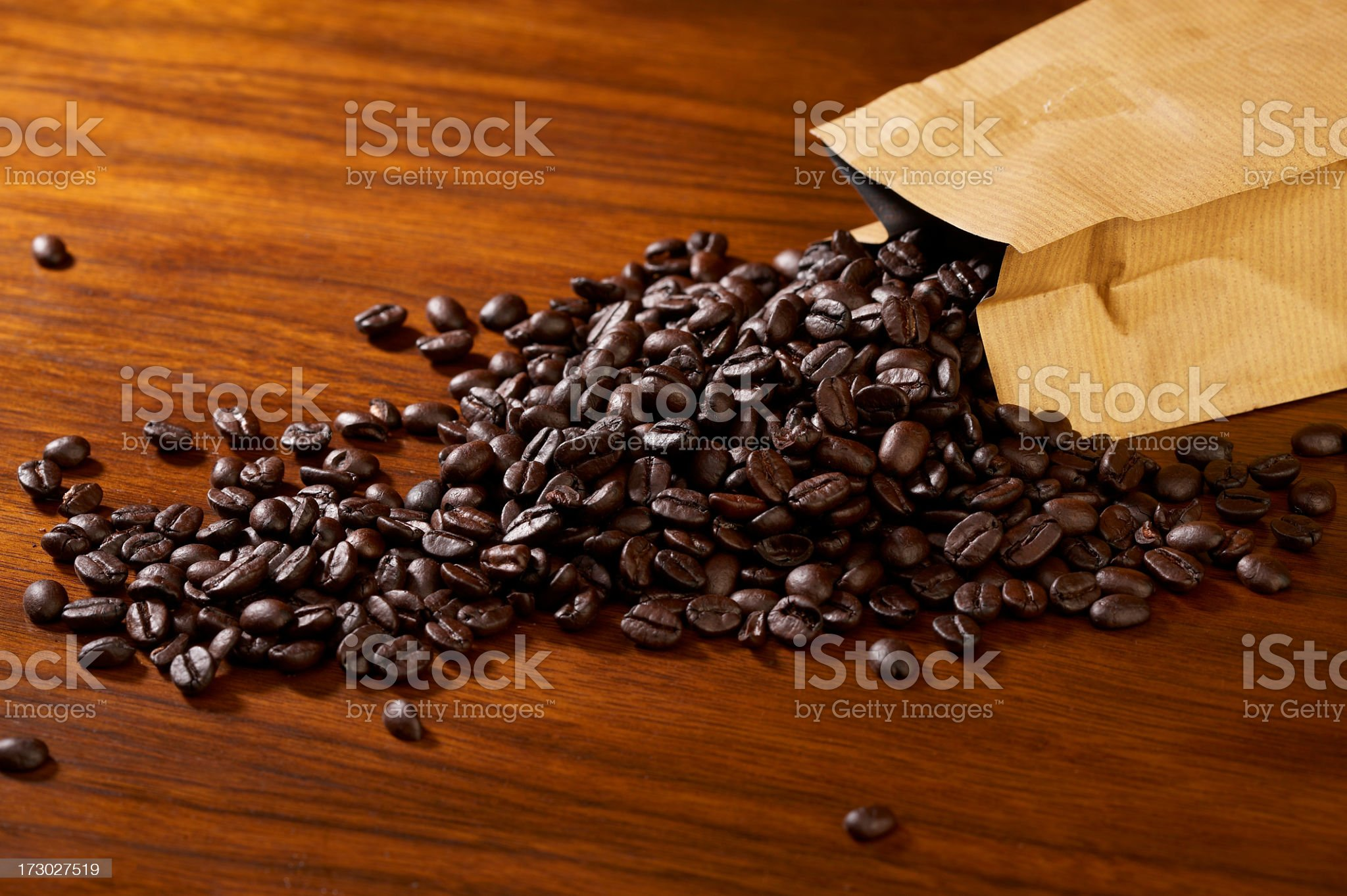 Bag of coffee beans royalty-free stock photo