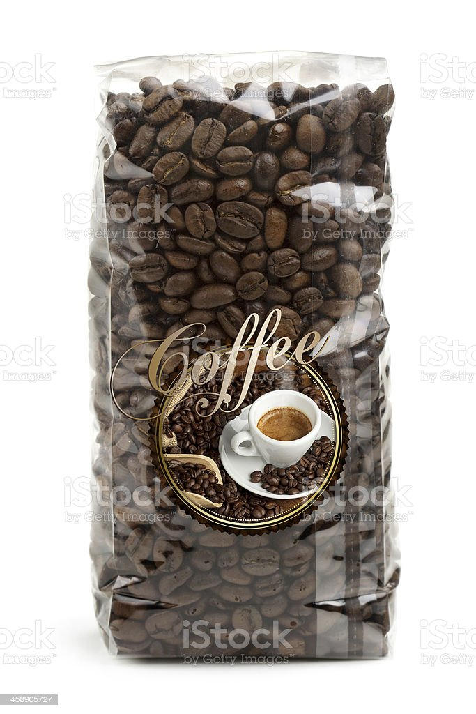 bag of coffee beans stock photo