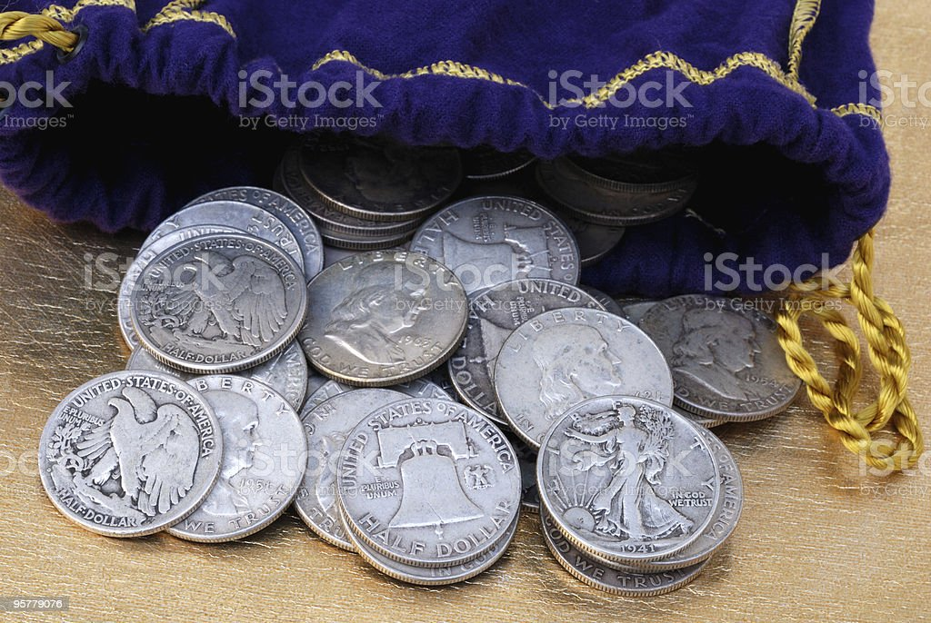 Bag of coins stock photo