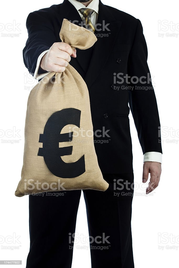 Bag of Euros in hand on white royalty-free stock photo
