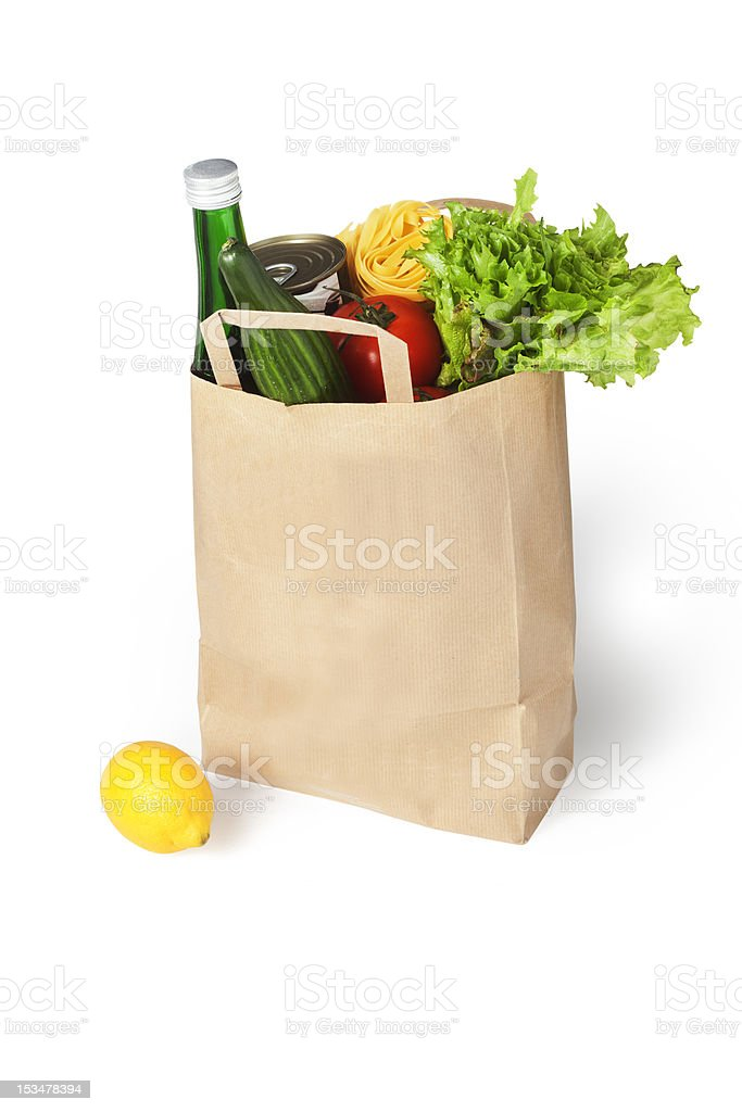 Bag of food on white background stock photo