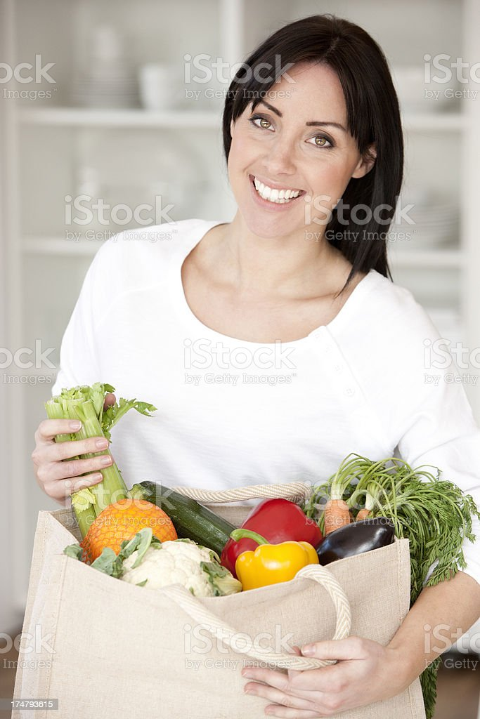 Bag of Fruit and Vegetables royalty-free stock photo