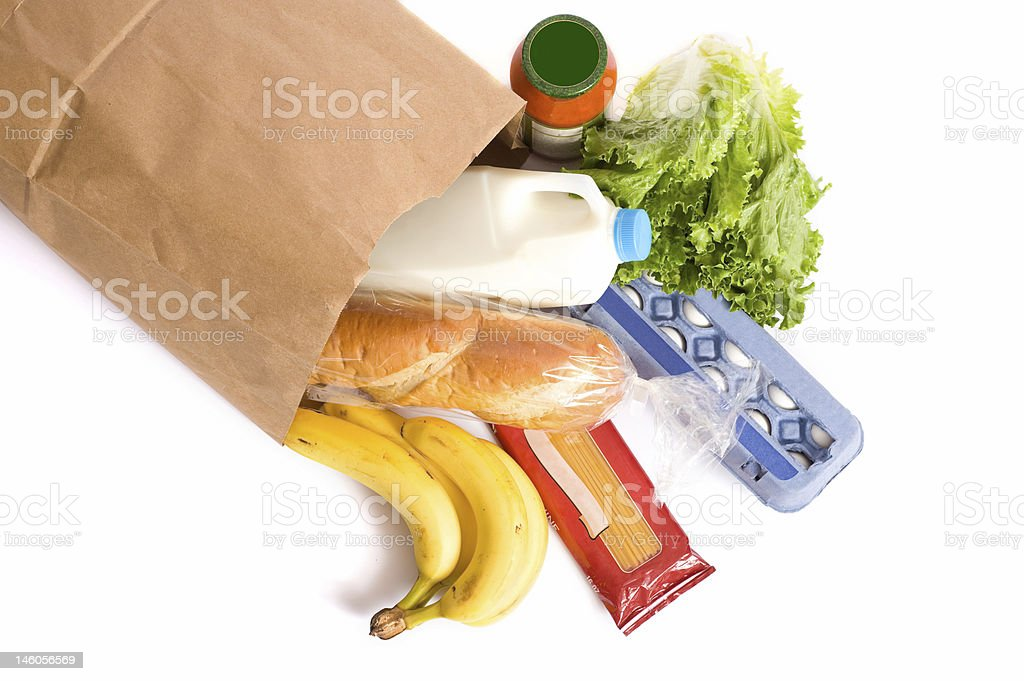 Bag of Groceries on WHite stock photo
