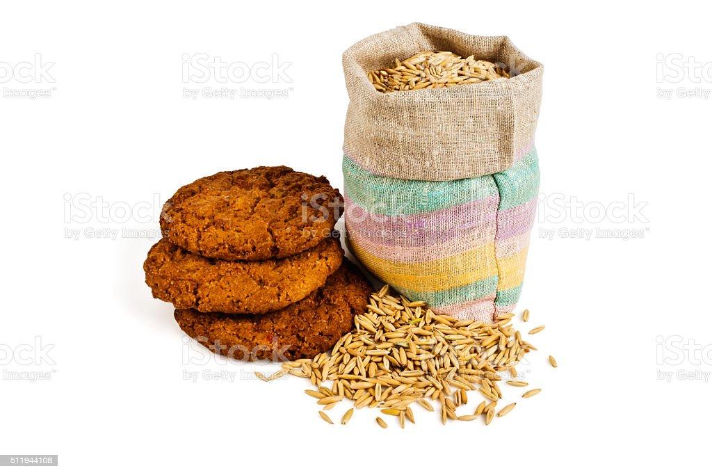 Bag of oats stock photo
