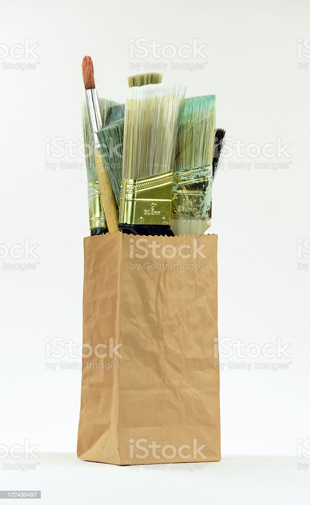 Bag of  Paintbrushes- Isolated stock photo