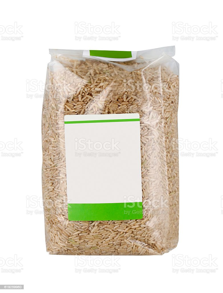 Bag of rice stock photo