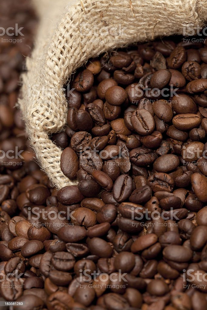 Bag of roasted coffee beans royalty-free stock photo