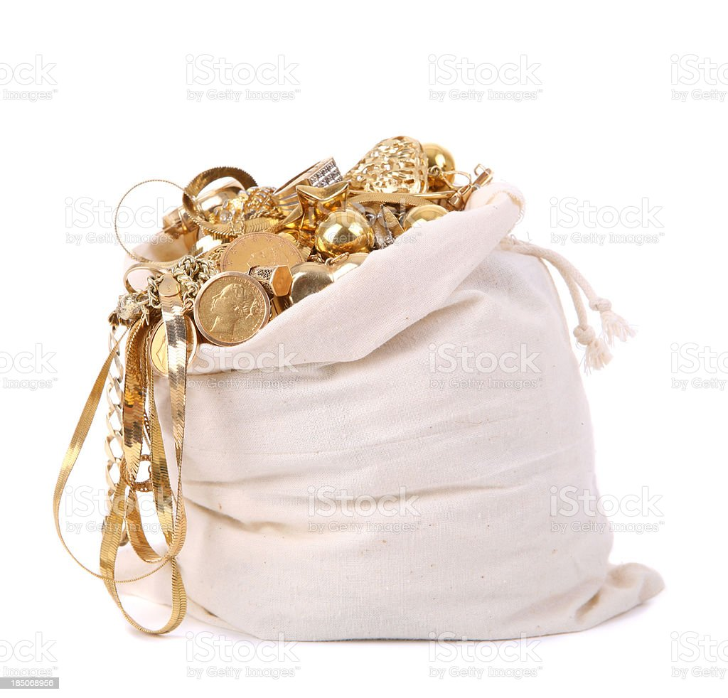 Bag of Scrap Gold royalty-free stock photo