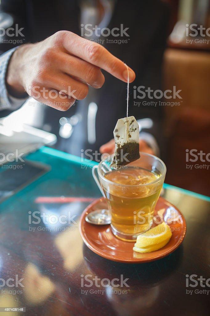 Bag of tea stock photo