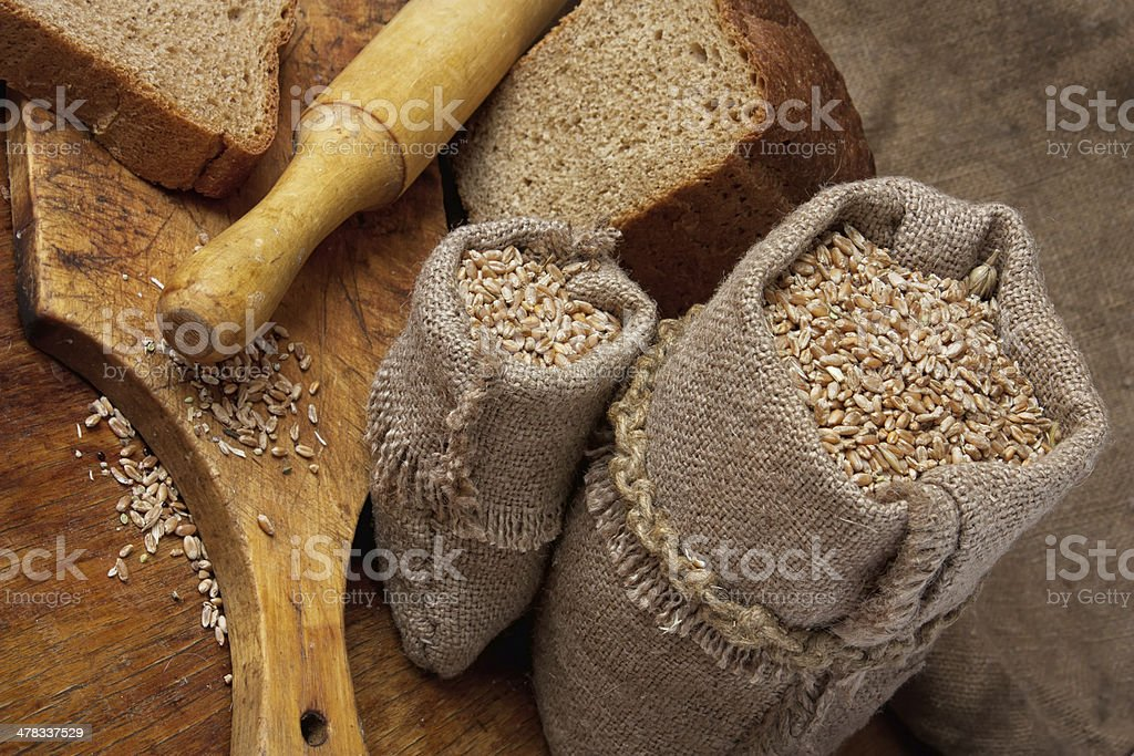 bag of wheat in the bakery royalty-free stock photo
