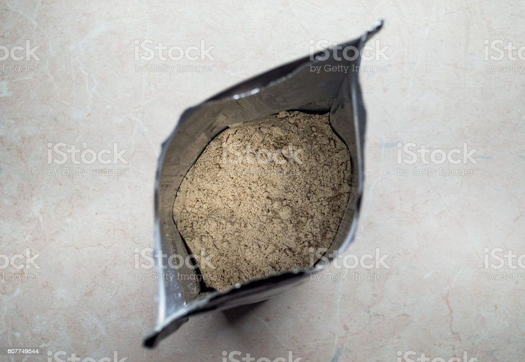 Bag of Whey Protein Powder Overhead View royalty-free stock photo