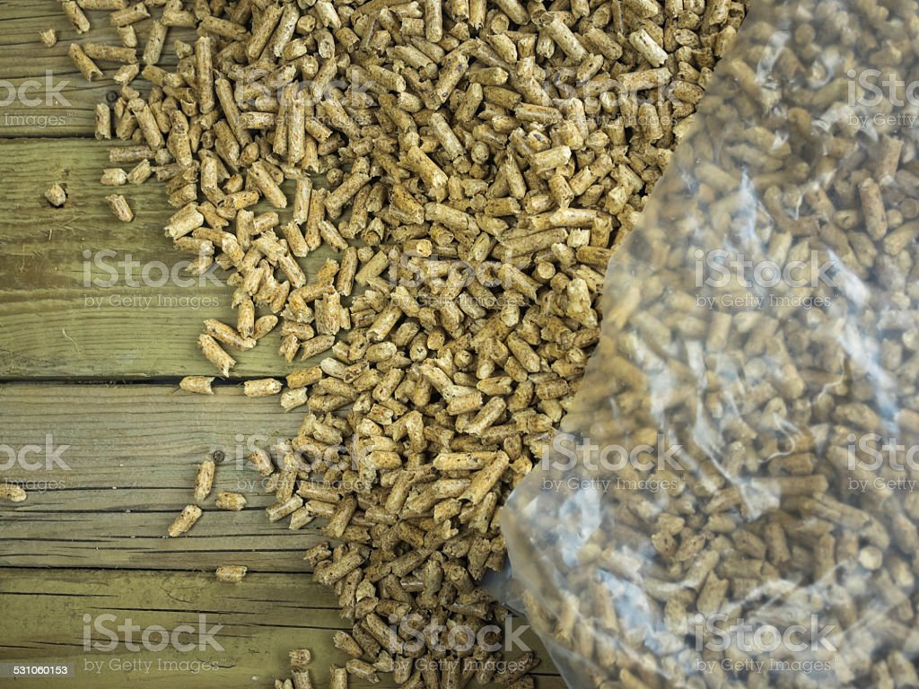 Bag of  wood pellets stock photo