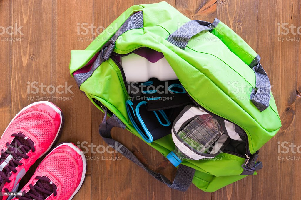 bag on the table is assembled in the gym stock photo
