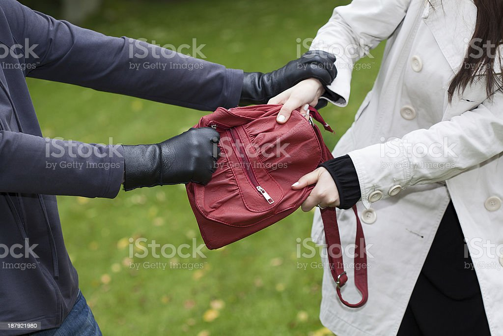 Bag theft stock photo