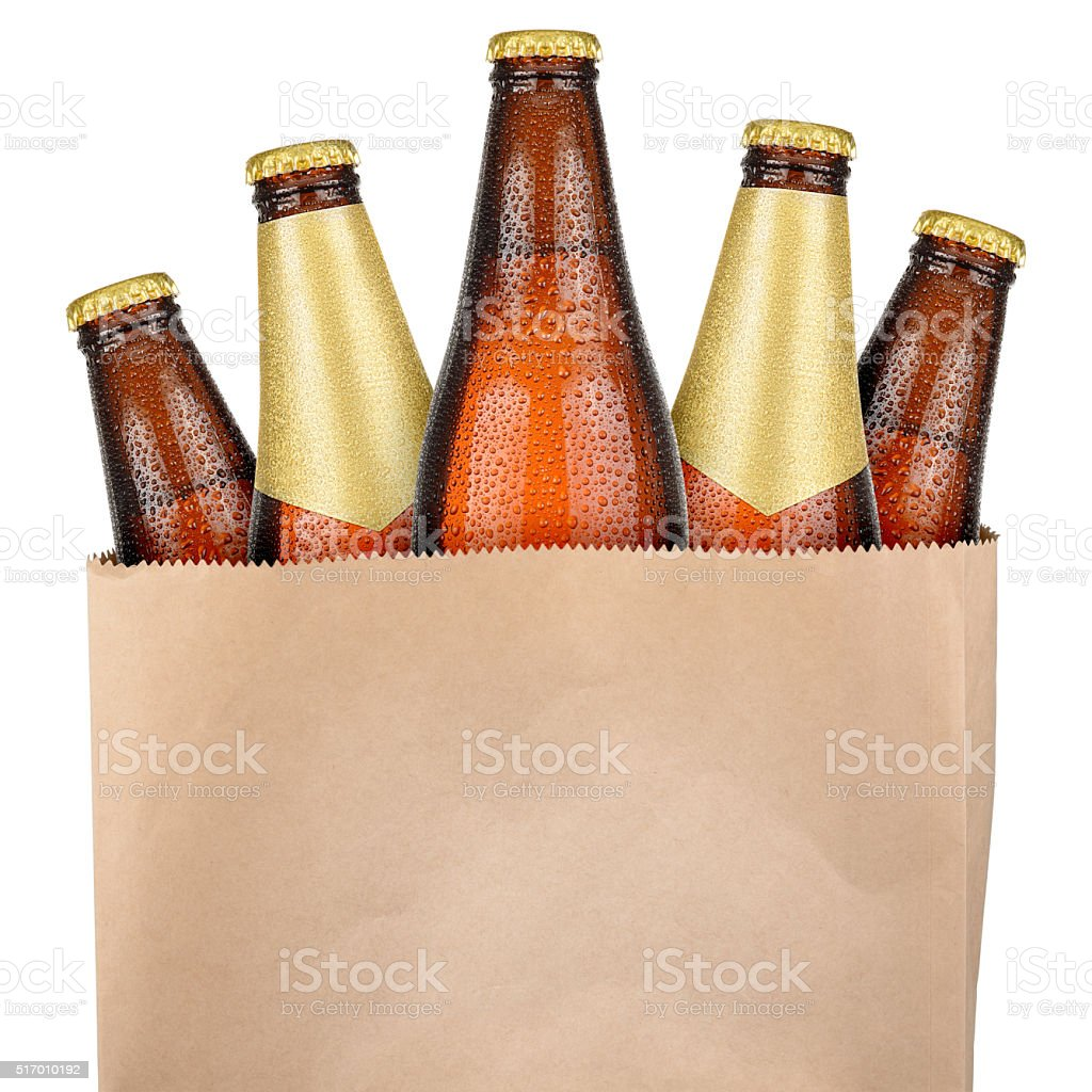 Bag with brown beer stock photo