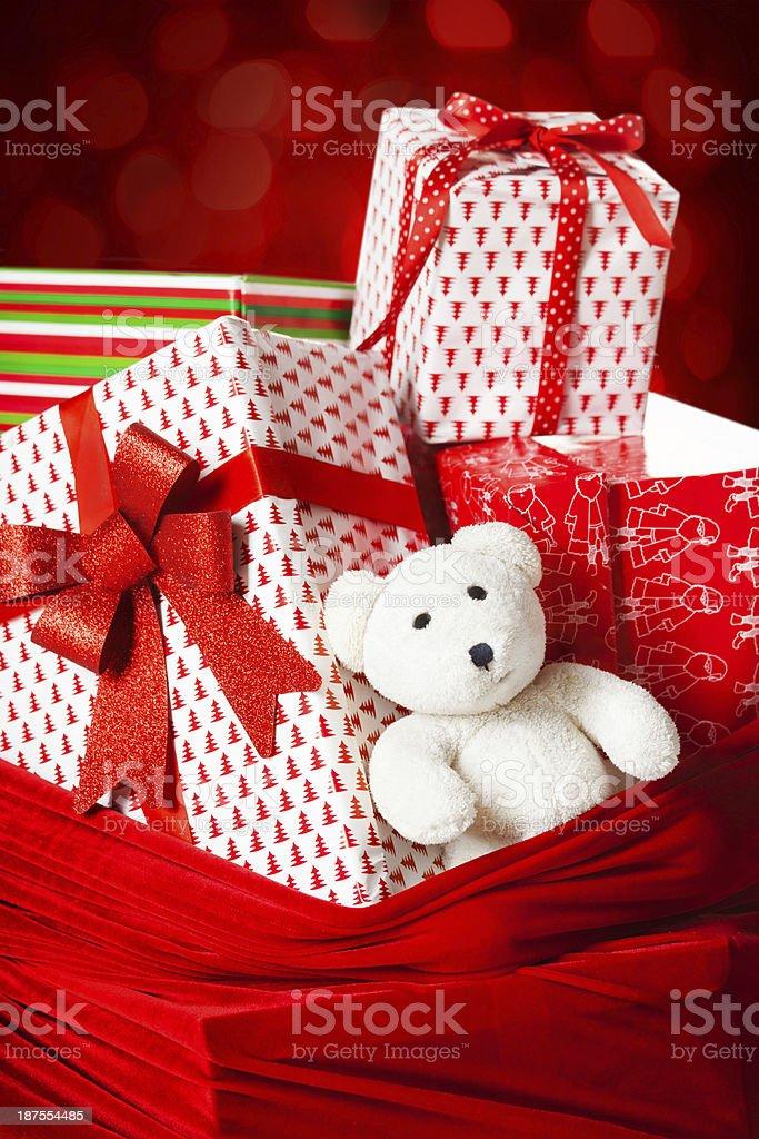 Bag with christmas presents closeup royalty-free stock photo