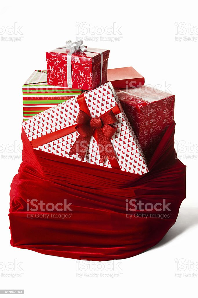Bag with christmas presents stock photo