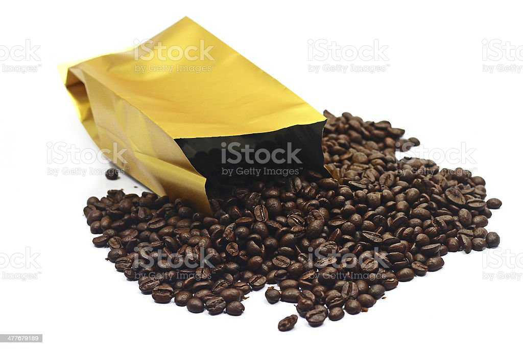 Bag with coffee bean royalty-free stock photo