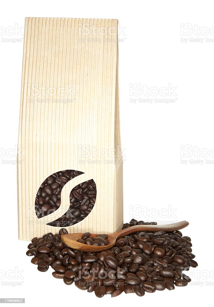Bag with coffee beans stock photo