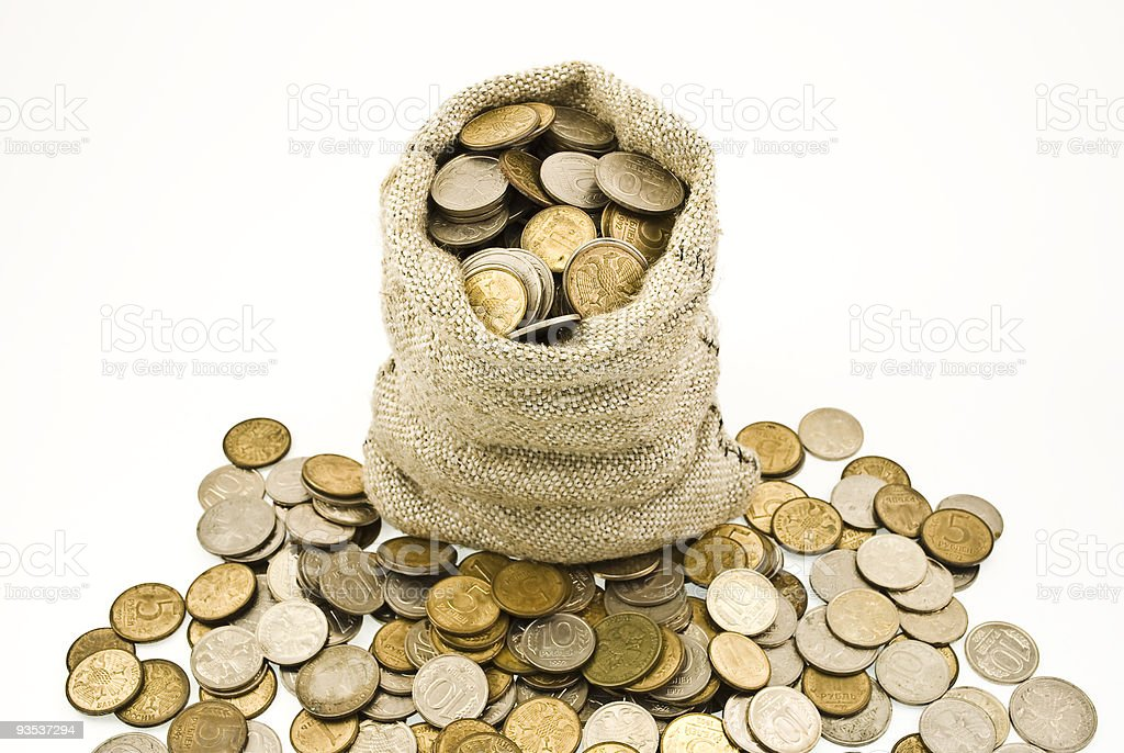 Bag with coins royalty-free stock photo
