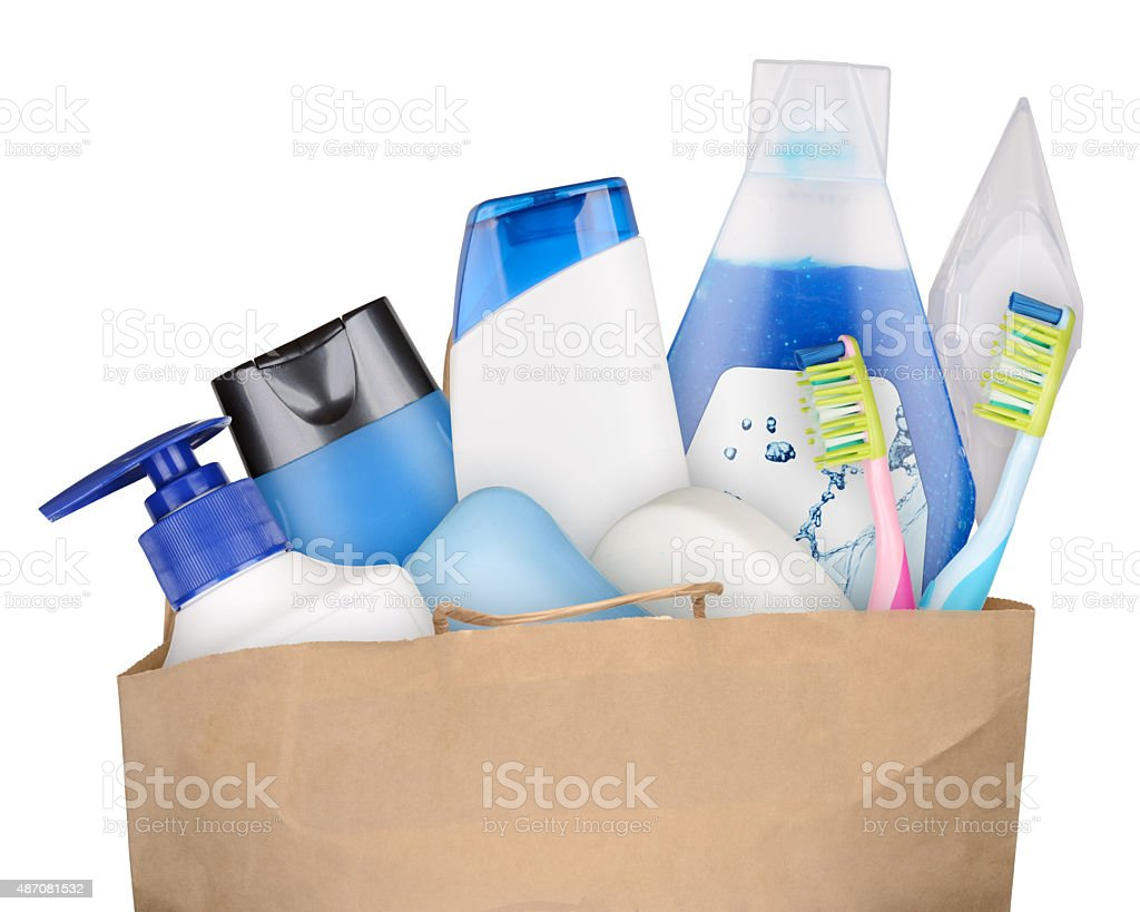 Bag with cosmetics stock photo