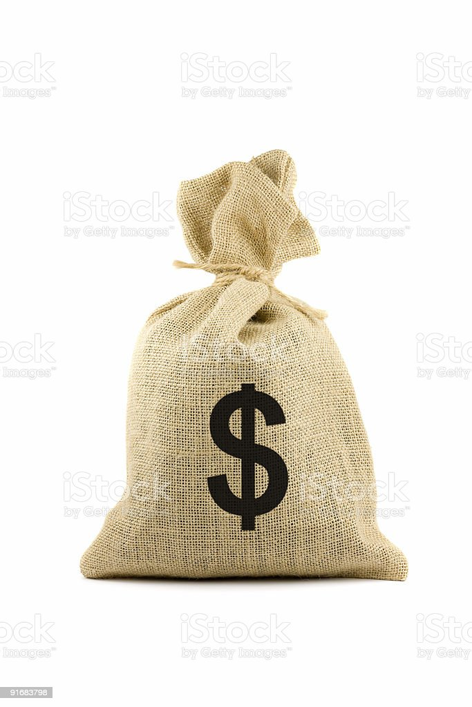 Bag with dollar sign stock photo