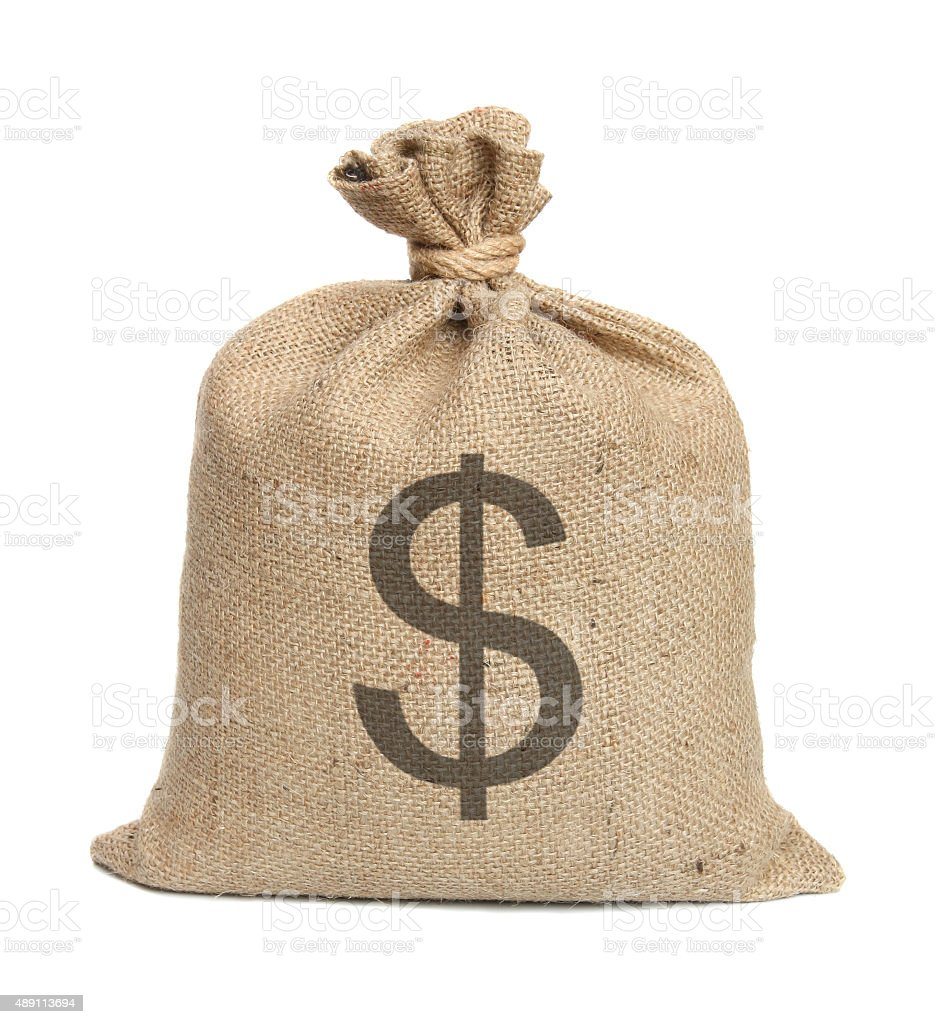 Bag with dollars. stock photo
