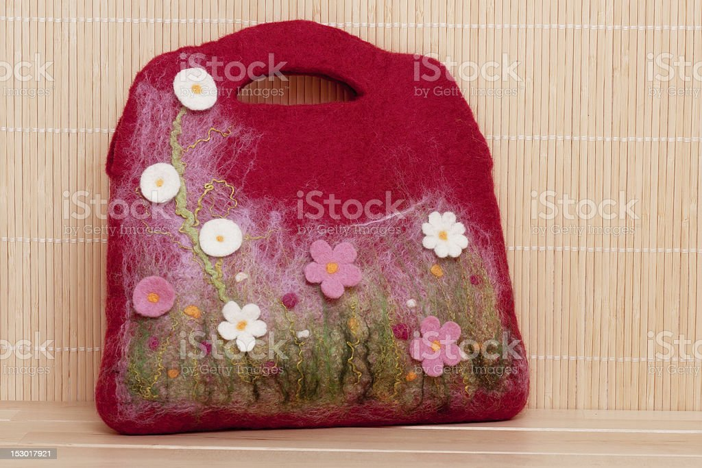 Bag with flowers stock photo