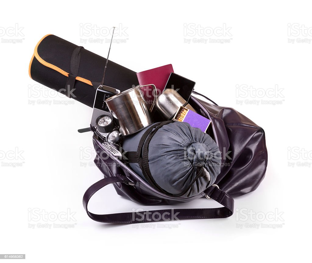 bag with important equipment for emergency situation stock photo