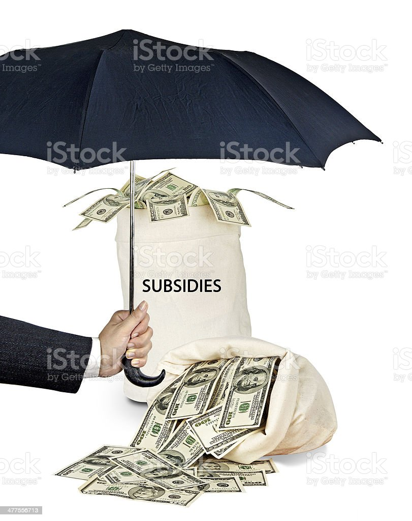 Bag with subsidies stock photo