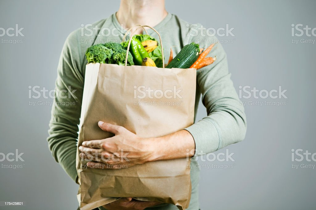 Bag with vegetables stock photo