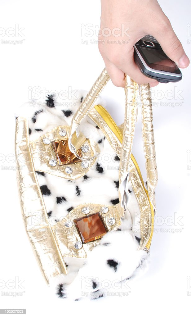 bag Women and mobile phone royalty-free stock photo
