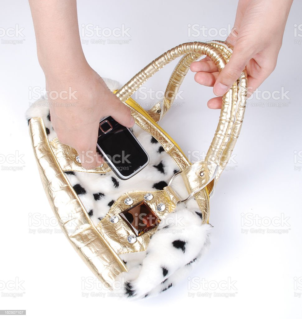 bag Women and mobile phone stock photo