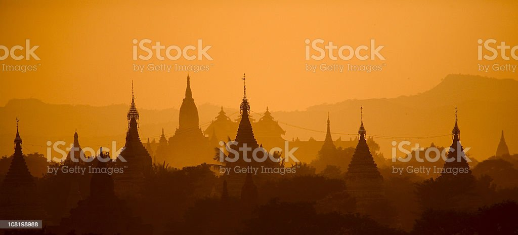 Bagan, Myanmar: Temples in Evening Light, Airborne Dust and Haze stock photo