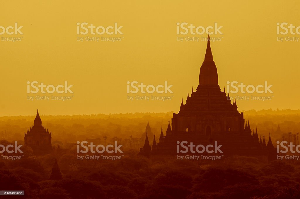 Bagan sunrise stock photo